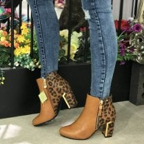 Zanni & Co Bisha Tan Leopard High Heel Ankle Boots