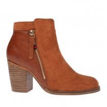 Escape Womens Tuscon Fudge Tan Leather Block Heeled Ankle Boots