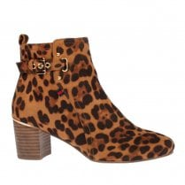 Escape Womens Walpi Leopard Suede Block Heeled Ankle Boots