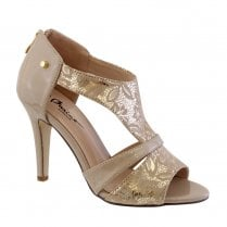 Barino Occasion Nude Back Zip High Heel Sandals - 474