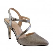 Barino Pewter Cross Strap High Heeled Occasion Court Shoes - 468