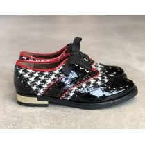 Unica ID 18586 Womens Black Patent and Houndstooth Dressy Brogues