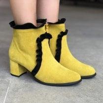 Unica ID 18550 Womens Block Heel Dressy Boots Yellow