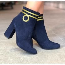 Unica ID 18516 Womens Block Heel Dressy Boots Navy