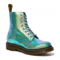 Dr Martens Womens 1460 Blue Pascal Iridescent Leather Ankle Boots