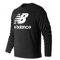 New Balance Mens Black Essentials Stacked Logo Crew Sweatshirt Jumper