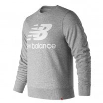 New Balance Mens Grey Essentials Stacked Logo Crew Sweatshirt Jumper