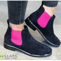 Nicola Sexton Navy/Pink Suede Flat Slip On Ankle Boots