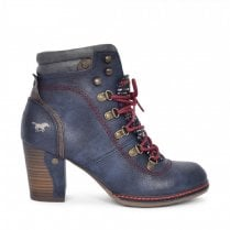 Mustang Block Heeled Lace Up Ankle Boots - Navy
