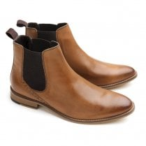 Ikon Jerry Mens Leather Chelsea Boots - Tan