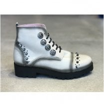 Maria Leon Womens White Grey Leather Studded Lace Ankle Boots