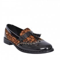 Zanni & Co Mosul One Womens Black Leopard Patent Loafers