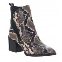 Alpe Snake Print Leather Mid Block Heel Ankle Boots