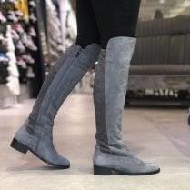 Nicola Sexton Grey Suede Flat Knee Boots - Natasha