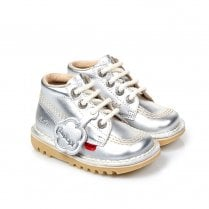 Kickers Kick Hi Classic Infant Boots - Silver