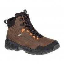 Merrell Mens Forestbound Mid Dark Earth Waterproof Lace Up Hiking Boots