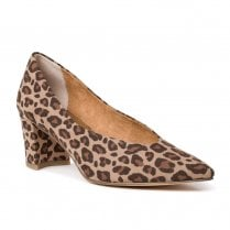 Marco Tozzi Mid Trapeze Heel Pointed Tip Pumps - Desert Multi Brown