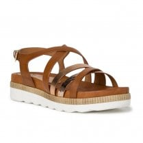 Marco Tozzi Womens Cognac Brown Flat Sandals