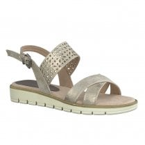 Marco Tozzi Womens Rose Metallic Flat Sandals