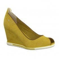 Marco Tozzi Womens Saffron Yellow Peep Toe Wedges