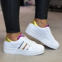 Méliné Womens White/Pink/Gold Sneakers - UG3015