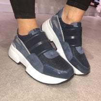 Lloyd & Pryce Ladies Chunky Navy Trainers - Fowley