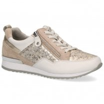 Caprice Premium Leather Flat Sneakers Shoes - Gold White