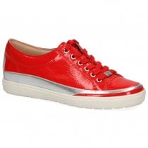 Caprice Women's Patent Leather Flat Trainers - Red Chili Naplak