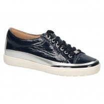 Caprice Women's Patent Leather Trainers - Navy