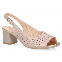 Caprice Women's Leather Block Heeled Comfort Sandals - Taupe Glitter