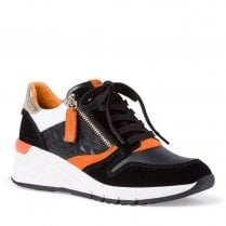 Tamaris Womens Wedge Heeled Sneakers Shoes - Black Orange