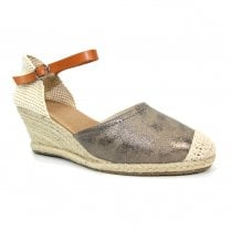 Lunar Womens Mexico Pewter Wedge Heeled Espadrille Sandals