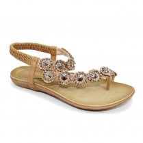 Lunar Womens Charlotte Tan Flower Toe Loop Flat Sandals - JLH601