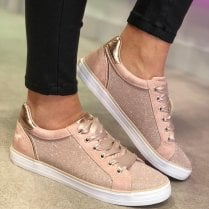 Mustang Ladies Rose Gold Glitter Trainer - 1267-308