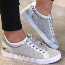 Mustang Ladies Silver Glitter Trainer - 1267-308