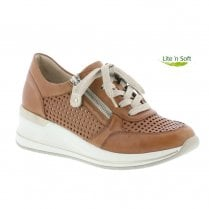 Remonte D3200-24 Ladies Leather Mid Wedge Shoes - Tan