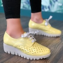 Wonders Womens Lemon Patent Lace Up Wedged Shoes - C-33210