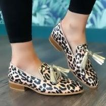 Wonders Womens Pink Leopard Print Tassle Loafers - B-7601