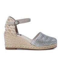 XTI Womens Silver Espadrille Wedged Sandals
