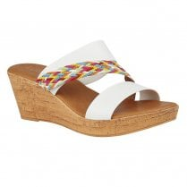 Lotus Jezebel White Multi Wedge Heel Slip On Sandals