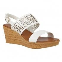 Lotus Zarina White Slingback Strap Wedge Heel Sandals