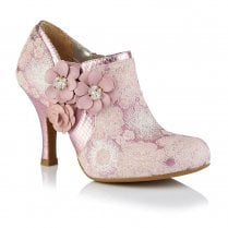 Ruby Shoo Electra Lilac Textile Flower Heeled Boots - 09338
