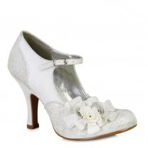 Ruby Shoo Emily Silver Floral High Heel Shoes - 09102