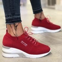 Mustang Ladies Red Knit Wedge Trainer - 1303-304