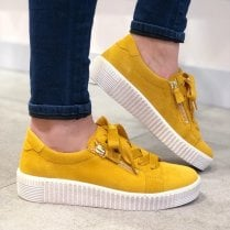 Gabor Womens Wisdom Mustard Yellow Leather Chunky Flatform Sneakers Shoes