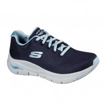 Skechers Womens Arch Fit Sunny Outlook Navy Knit Mesh Sneakers