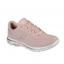 Skechers Womens GOwalk 5 Debut Soft Knit Pink Sneakers
