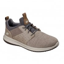 Skechers Mens Delson Camben Taupe Knit Mesh Sneakers - 65474