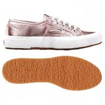 Superga Womens Cotmetu Rose Gold Metallic Classic Low Trainers