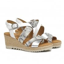 Gabor Ladies Slingback Shiny Wedge Heeled Sandals 42.832 - Silver